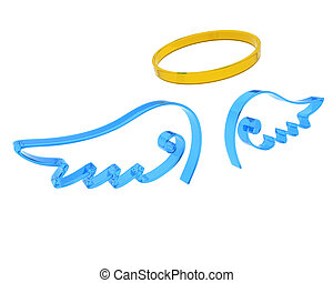 3d render of representation of angel wings and halo