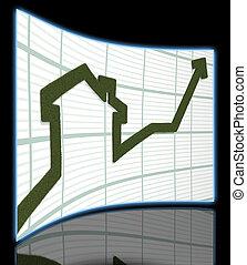 rising arrow - 3d render of rising arrow, shaped like a...