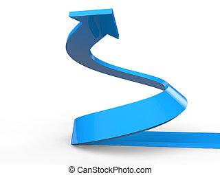 3D render of rising spiral arrow