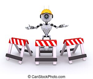 Robot at construction site - 3D Render of Robot at...