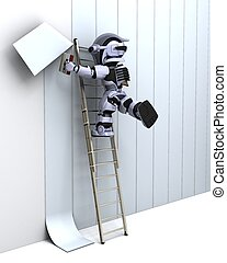 robot decorating a wall - 3D render of robot decorating a...