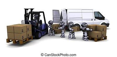 Robot Driving a Lift Truck - 3D Render of Robot Driving a...