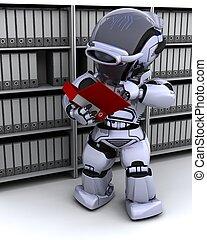 robot filing documents - 3D Render of robot filing documents