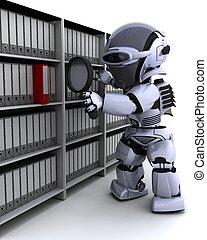 3D Render of robot filing documents