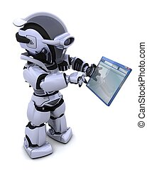 robot navigating through computer window - 3D render of...