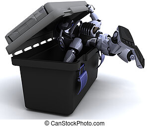 robot searching a toolbox