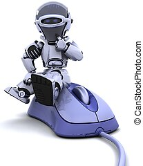 robot with a computer mouse - 3D render of robot with a ...