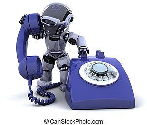 3D render of robot with a traditional telephone