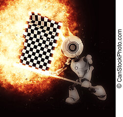 3D render of robot with chequered flag exploding