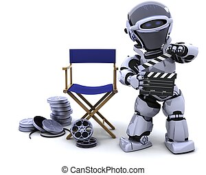 robot with clapper boards and film reels - 3D render of ...