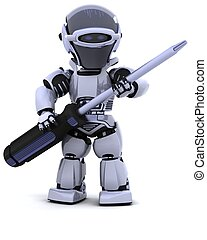 robot with  - 3D render of robot with