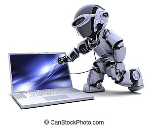 robot with computer and stethoscope - 3D render of robot ...