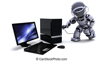 robot with computer and stethoscope - 3D render of robot...