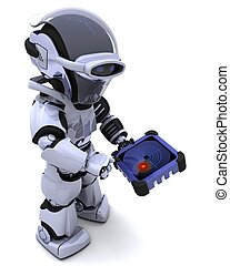 robot with GPS radar tracker - 3D render of robot with GPS ...