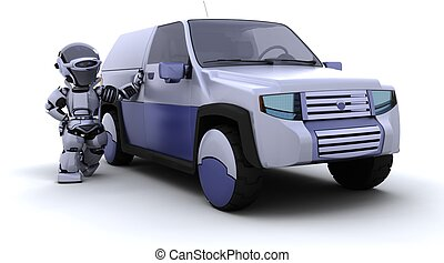robot with SUV concept car - 3D render of robot with SUV ...