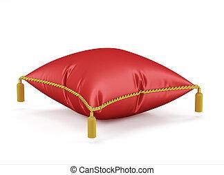 Royal red velvet pillow isolated on white background