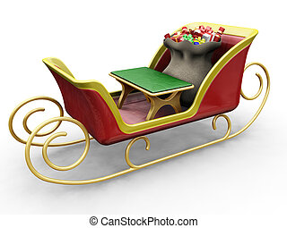 Santas sleigh - 3D render of Santas sleigh with a sack of...