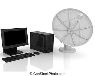 Satellite dish - 3d render of Satellite dish. Communication...