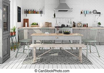 3d render of scandinavia kitchen