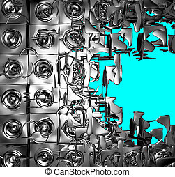 3d render of silver chrome exploded sound-system on blue