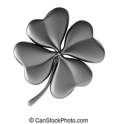3d render of silver clover