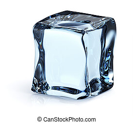 3d render of single ice cube on white