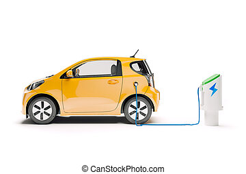 3d render of small city electric car