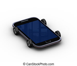 3d render of smart mobile phone on wheel