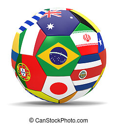 3D render of soccer football with drop shadow on white...