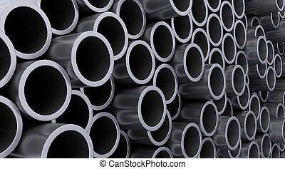 steel pipes - 3d render of steel pipes