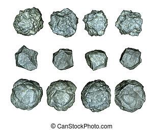 3d render of stones asteroids illustration