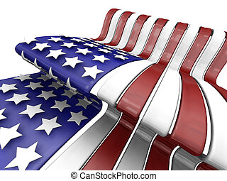 American flag - 3D render of the American flag