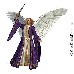 3D render of the Archangel Micheal, holding a sword.