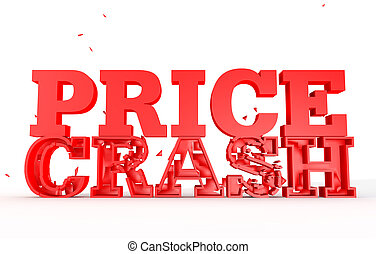 3d render of the word price crash for sales