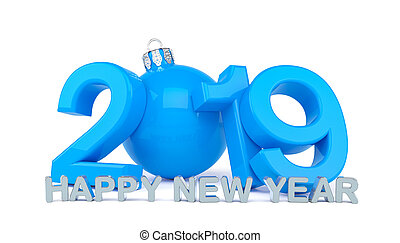 3d render of the year 2019 in blue over white background and the message happy new year