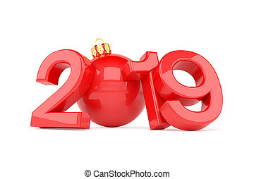 3d render of the year 2019 in red over white background