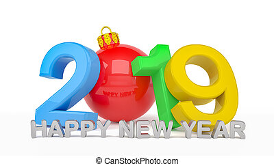 3d render of the year 2019 over white background and the message happy new year - zero is a Christmas ball - represents the new year 2019