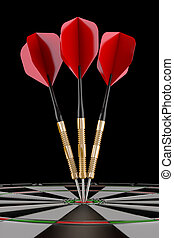 darts on target - 3d render of three red darts on target