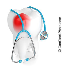 3d render of tooth with stethoscope over white
