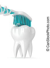 3d render of toothbrush cleaning tooth