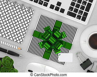 3d render of top view workspace with gift
