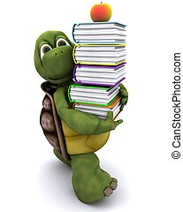 Tortoise with school book and apple - 3D render of Tortoise...