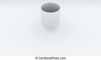 3d render of transformation of a cylinder into a disk. The shape change. Computer generated geometric backdrop