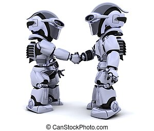 robots shaking hands - 3d render of two robots shaking hands