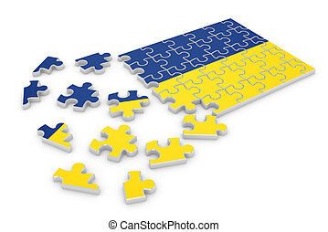 Ukraine puzzle flag - 3d render of Ukraine puzzle flag...