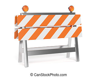 3d render of under construction barrier with road cones....