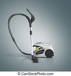3d render of vacuum cleaner on grey gradient background