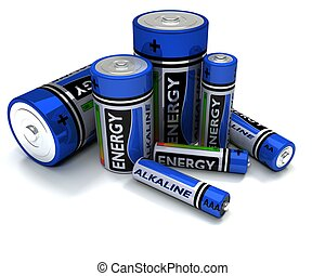 Various sized Alkaline Batteries - 3D render of Various...