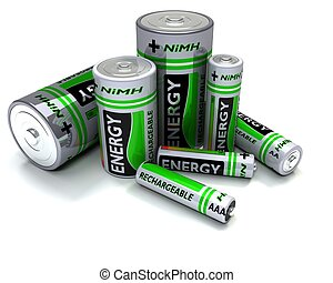 Various sized NiMH Batteries - 3D render of Various sized...