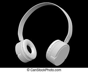 3d Render of White Headphones Isolated on Black